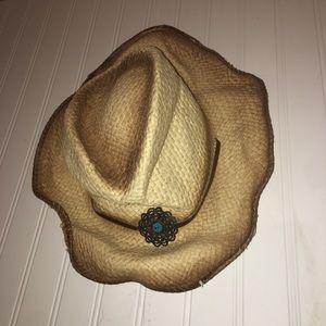 Straw turquoise embellished hat